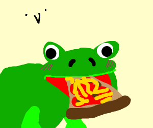Frog eats pizza