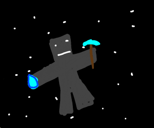 Black Minecraft character in SPACE