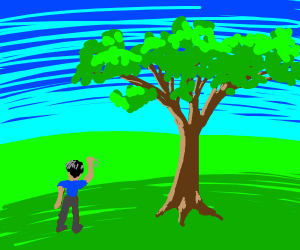 man waving to a tree