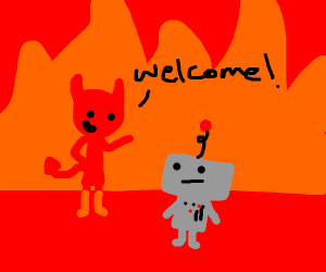 Demon welcomes robot to hell