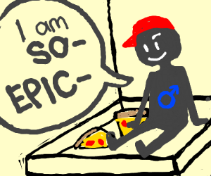 epic man with hat in the pizza box