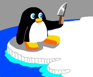 Penguin with a knife
