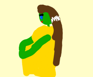 green pregnant woman is crying