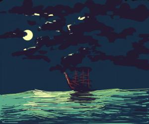 a calm night on the sea
