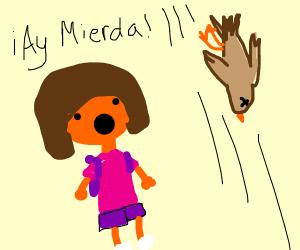 Dora looking at a falling, dead bird