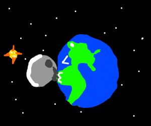 moon and earth smooch
