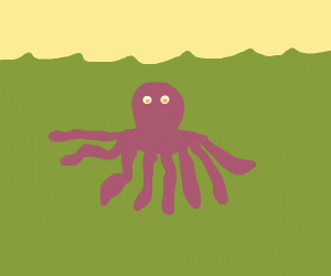 octopus in green water