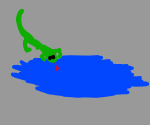 Lizard drinks from a puddle