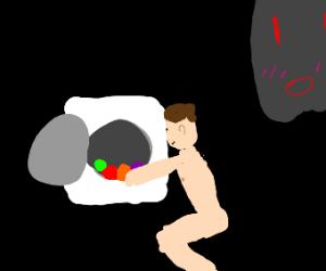 Naked guy does laundry