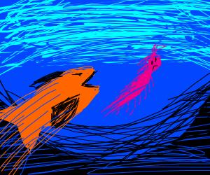 A fish pursuing a shrimp