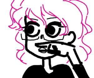 Glasses girl with finger moustache.