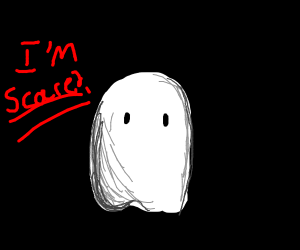 sad ghost that thinks it is scary