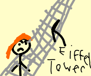Ginger girl is mad in front of Eiffel Tower