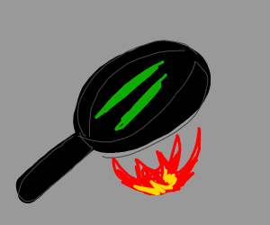 cooking green beans in a frying pan
