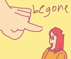 giant hand tells small woman to begone
