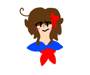schoolgirl with brown short hair and red bow