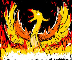 A phoenix being reborn