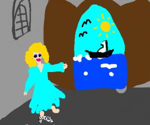 Cinderella opens a door to the sea