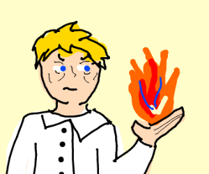 yellow haired man holds fire
