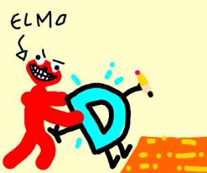 Elmo pushing Drawcetion D in lava