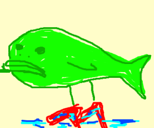 Green blob fish with saturated high heels