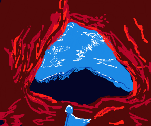blue person in red cave