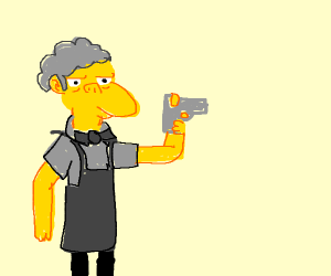 moe from the simpsons holding a gun