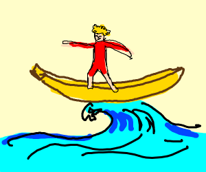 Surfing on a banana