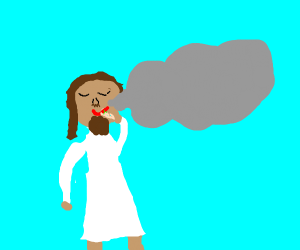 Jesus smoking