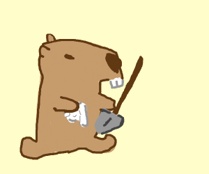 Capybara cleaning a Shovel