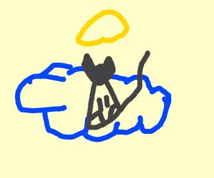 Cat god on a cloud