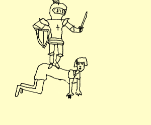 Knight standing straight up while riding a ho