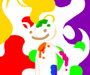 Man with colorful splats