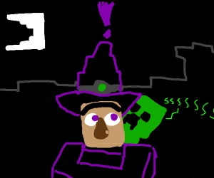 minecraft witch surprised by creeper