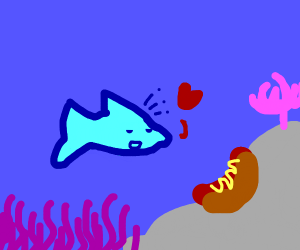 A fish falls in love with a hot dog