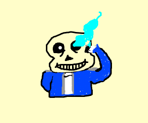 Sans is lighting his eye with a lighter