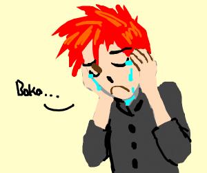 anime boy cries drawception