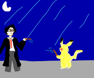 harry potter and pikachu have a battle