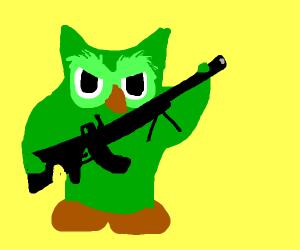 duolingo owl threatens with gun