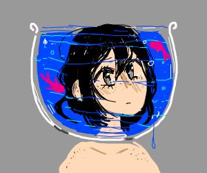cute girl inside an aquarium