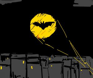 batman logo in the sky