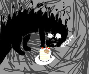 shadow dinosuar eating cake