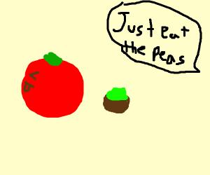 Tomato refusing to eat peas
