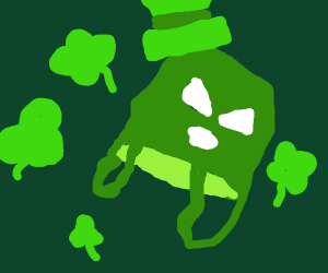 Spooky paper bag leprechaun