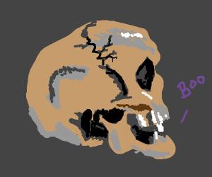 skull saying boo