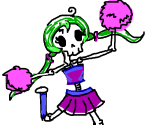 cheer leader skeleton with green pigtails
