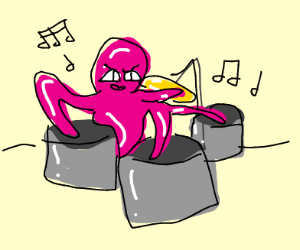 Octopus rocking the drums