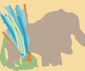 Elephant with a hose instead of their tail