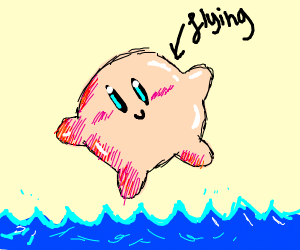 Kirby, flying above an ocean