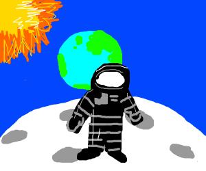 Black astronaut in space